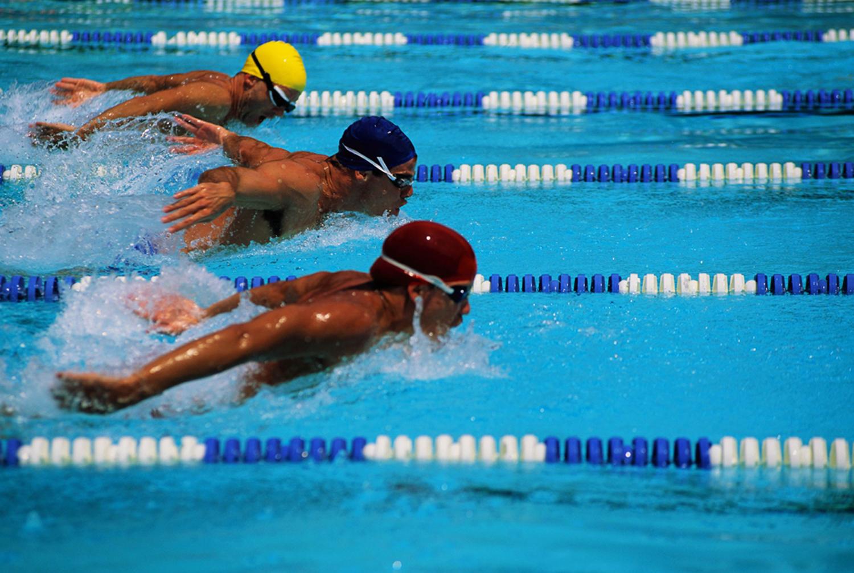 Спортсмены на соревнованиях в бассейне