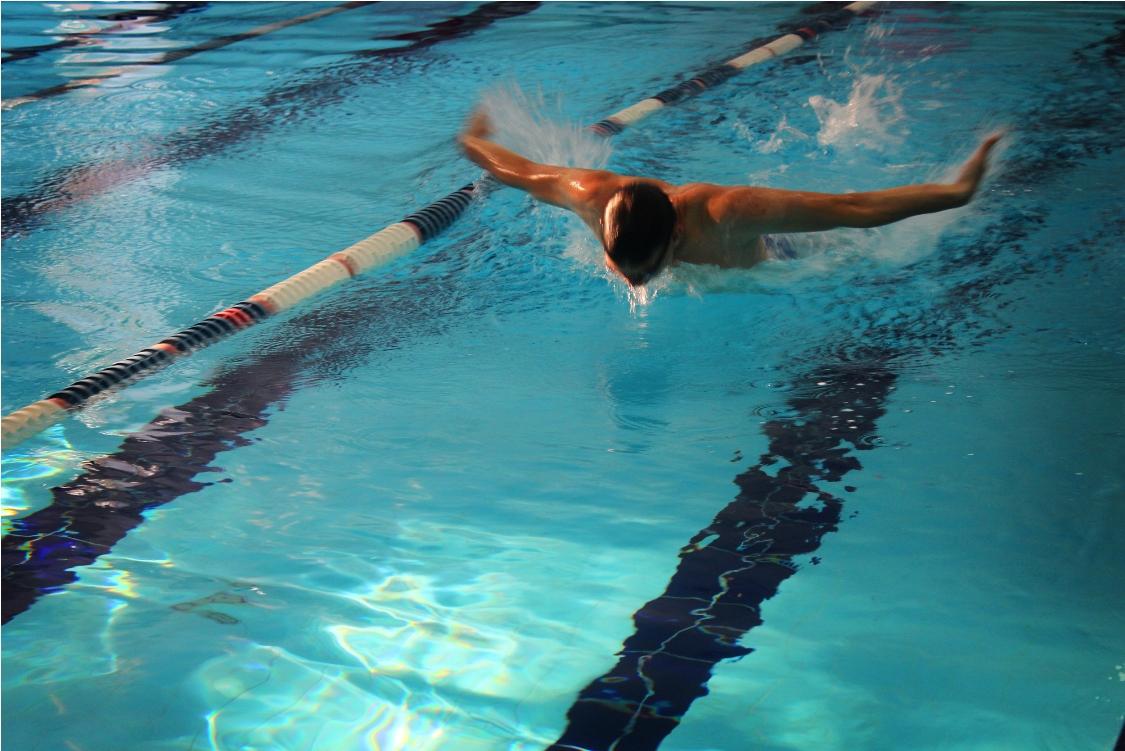 Спортсмен плывет стилем