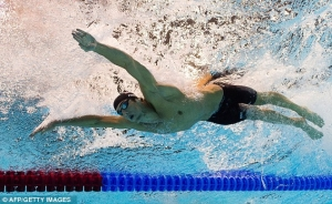 Пловец ныряет в бассейне