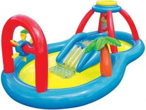 Детский надувной бассейн с горкой